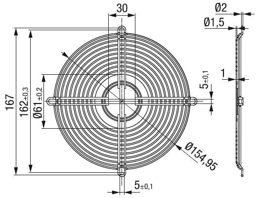 LZ52 защитная решетка 172х51 мм ebmpapst чертеж