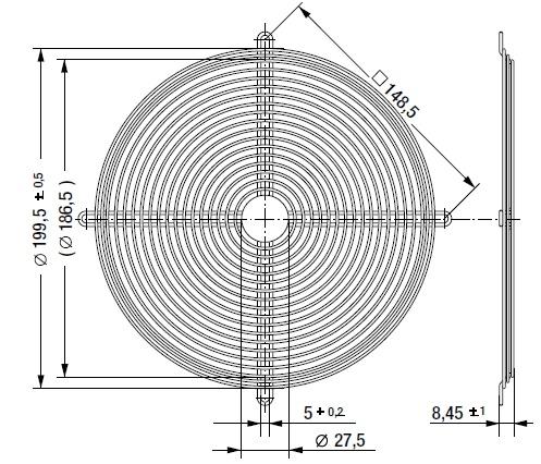 LZ22 защитная решетка 200х51 мм ebmpapst чертеж