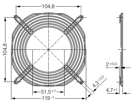 LZ30-9 защитная решетка 120х120 мм ebmpapst размеры
