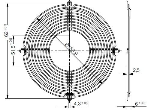 LZ37-2 защитная решетка 172х51 мм ebmpapst чертеж