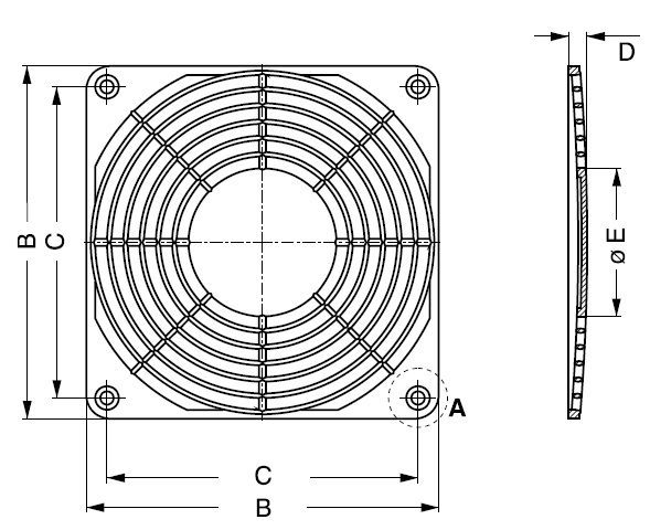 LZ23-3 защитная решетка 92х92 мм ebmpapst чертеж