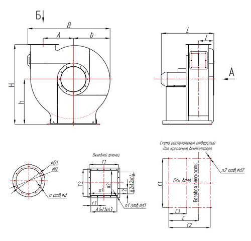 центробежный ВЦ 5-35 3,55 чертеж