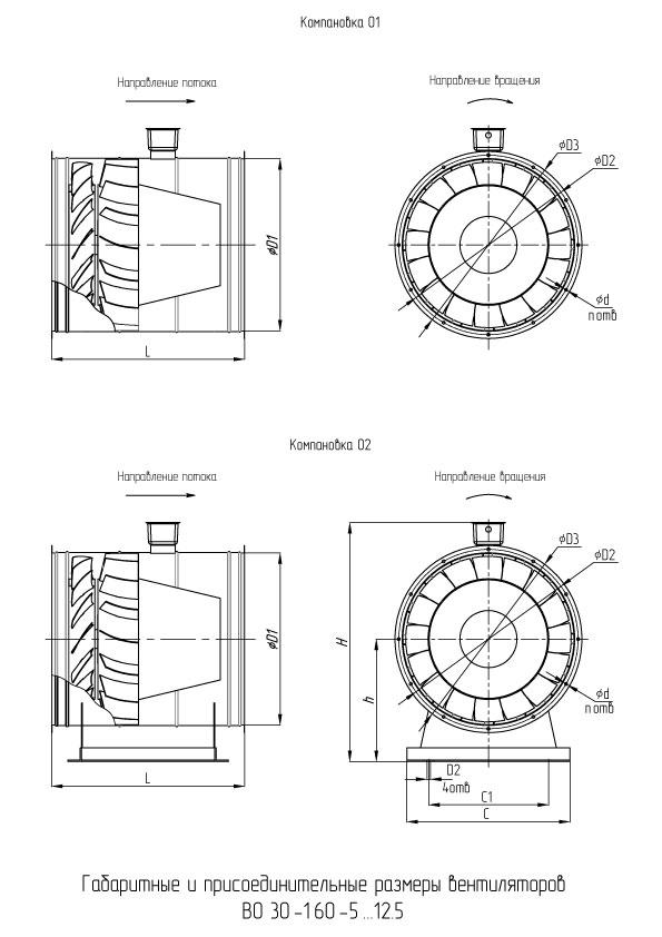 ВО 30-160 №6,3 размеры вентилятора