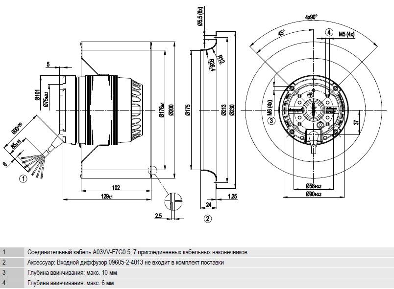 R4D200-AL12-05 ebmpapst чертеж