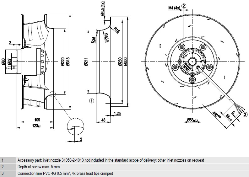 R4E310-AR06-01 ebmpapst чертеж