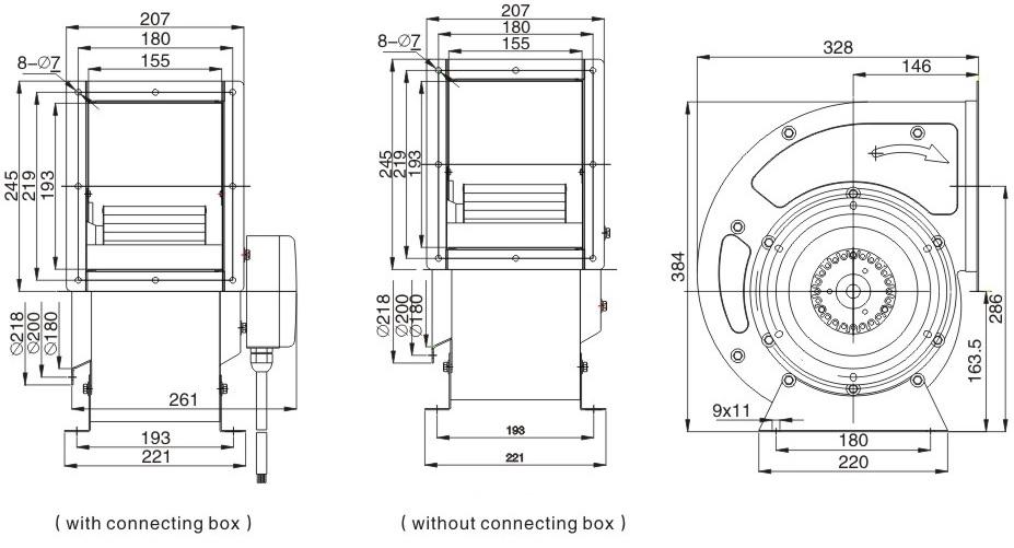 вентилятор улитка ventstal 1500 габаритные размеры