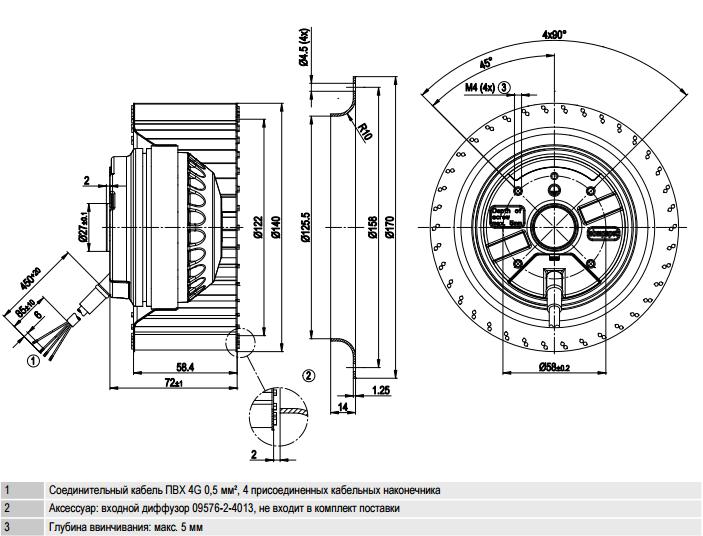 R2E140-AE77-05 ebm-papst чертеж