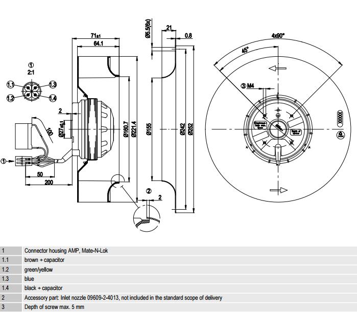 R2E220-AA40-A8 ebm-papst чертеж