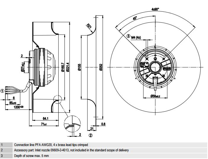 R2E220-AA40-B8 ebm-papst чертеж
