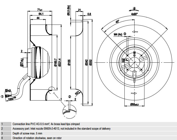 R2E220-AA40-C2 ebm-papst чертеж