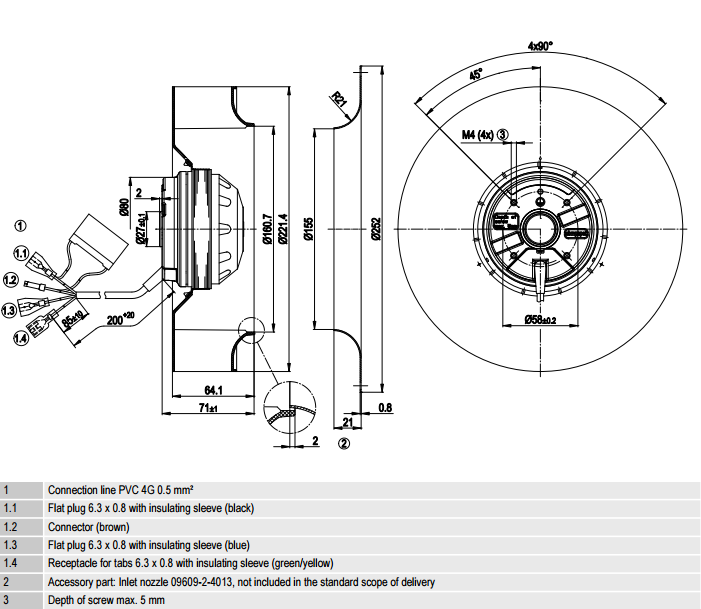 R2E220-AA40-F6 ebm-papst чертеж