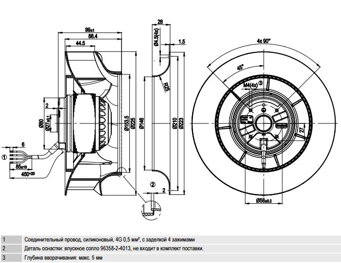 R2E225-RA92-09 ebm-papst чертеж