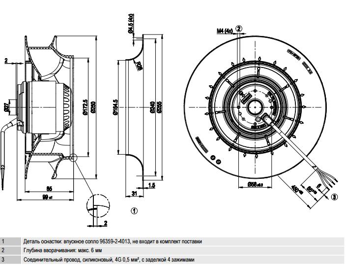R2E250-RA50-01 ebm-papst чертеж