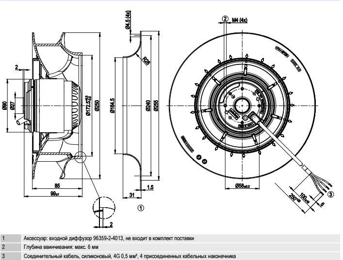 R2E250-RA50-15 ebm-papst чертеж