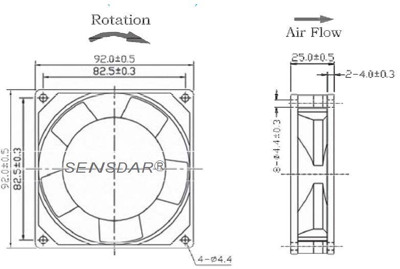 вентилятор 92x92x25 sensdar 110В скольжения чертеж