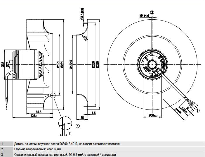 R2E280-AE52-31 ebm-papst чертеж