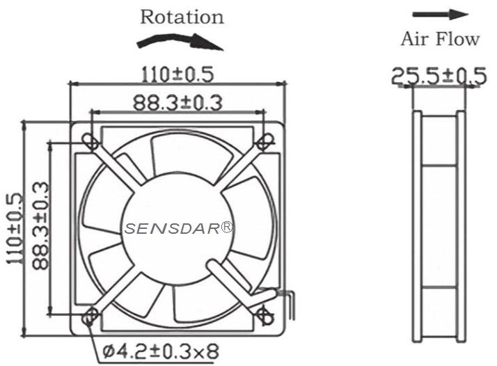 чертеж вентилятора 110х110х25 мм 220В качения sensdar