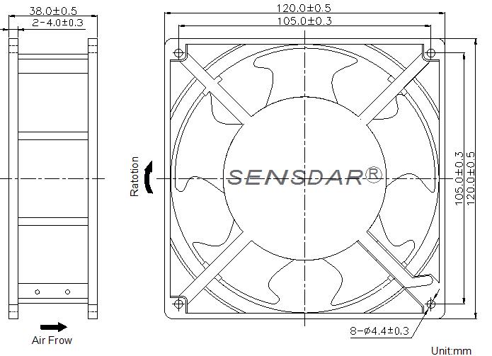 вентилятор 120x120x38 мм 220В sensdar чертеж