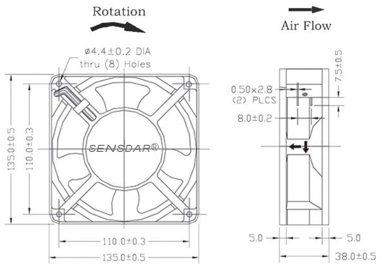 вентилятор компактный 135х135х38мм 220В качения sensdar чертеж