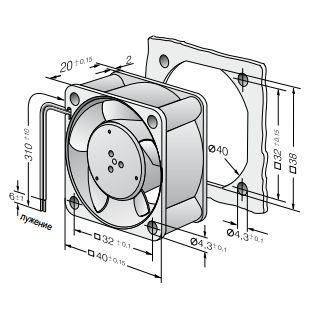 414H ebmpapst вентилятор чертеж
