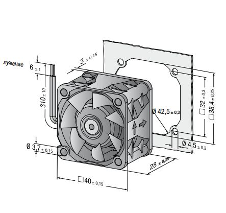 422JM ebmpapst вентилятор чертеж
