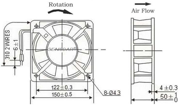 вентилятор 150х150х51 мм 110В sensdar габариты