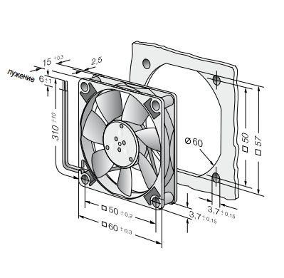 612F ebmpapst вентилятор чертеж