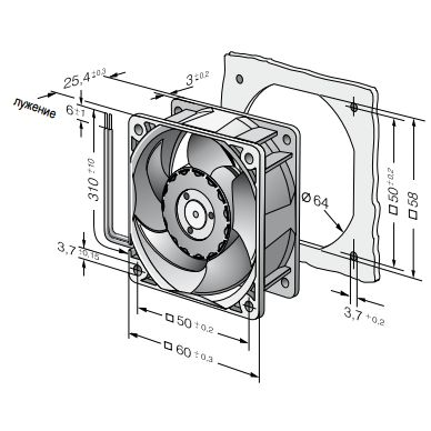 624N ebmpapst вентилятор чертеж