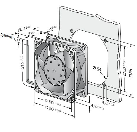634NU ebmpapst вентилятор чертеж