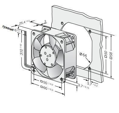 612NLE ebmpapst вентилятор чертеж