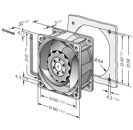 618J/2HHP ebmpapst вентилятор чертеж