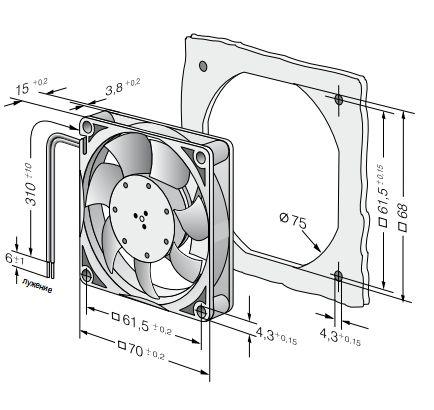 714F ebmpapst вентилятор чертеж