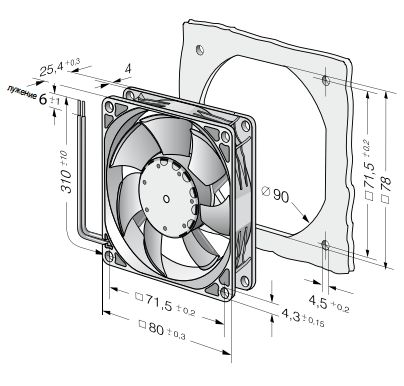 8452GM ebmpapst вентилятор чертеж