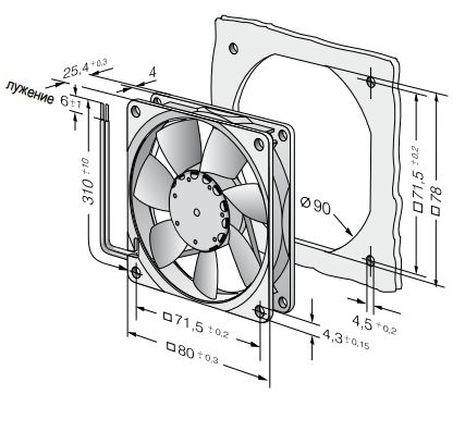 8414NGML ebmpapst вентилятор чертеж