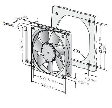 8412NGMLV ebmpapst вентилятор чертеж