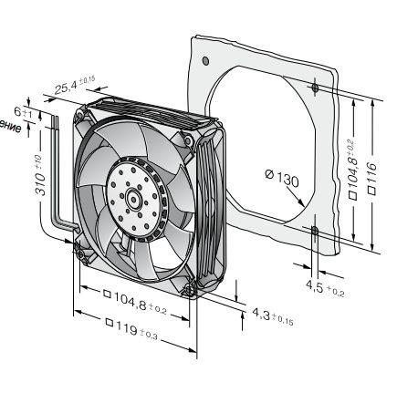 4414FNN ebmpapst вентилятор чертеж