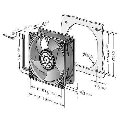 4418ML ebmpapst вентилятор чертеж