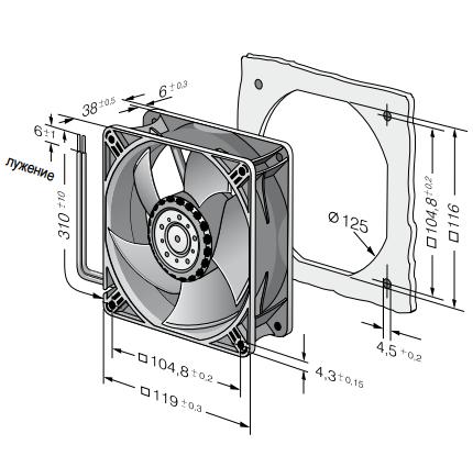 4414HH ebmpapst вентилятор чертеж