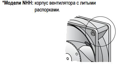 Модели NHH: корпус вентилятора с литыми распорками