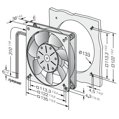 5114N ebmpapst вентилятор чертеж