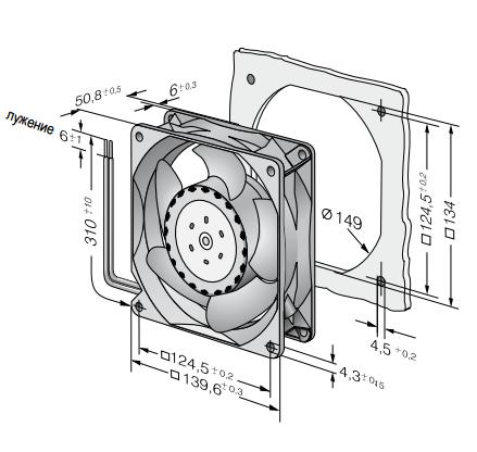 5314/2HP ebmpapst вентилятор чертеж