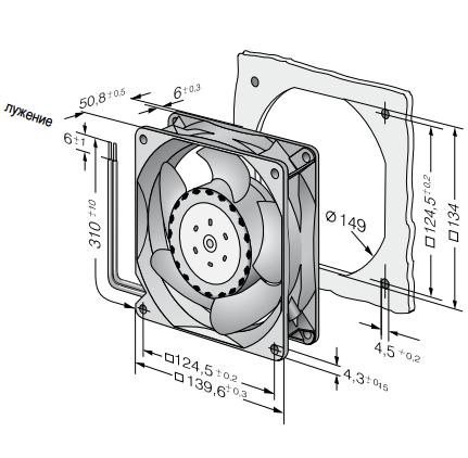 5318/2TDH4P ebmpapst вентилятор чертеж