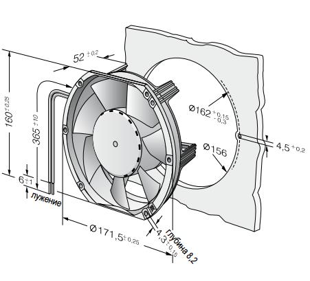 6112NM ebmpapst вентилятор чертеж