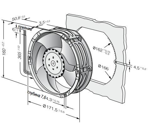 6318/2TDH4P-007 ebmpapst вентилятор чертеж