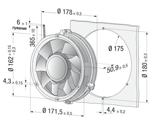 DV6318/2TDH3P ebmpapst вентилятор чертеж