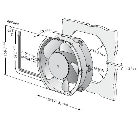 DV6448 ebmpapst вентилятор чертеж