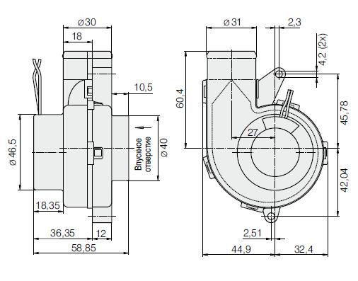 RV40-18/12L ebmpapst вентилятор чертеж