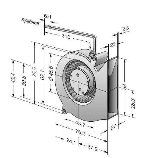 RL48-19/12 ebmpapst вентилятор чертеж