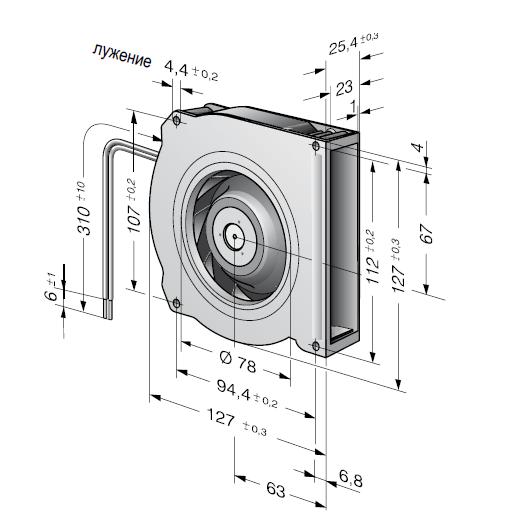 RLF100-11/18/2HP-182 ebmpapst вентилятор чертеж