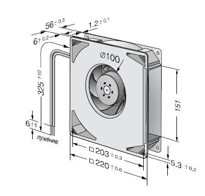 RG160-28/12N ebmpapst вентилятор чертеж